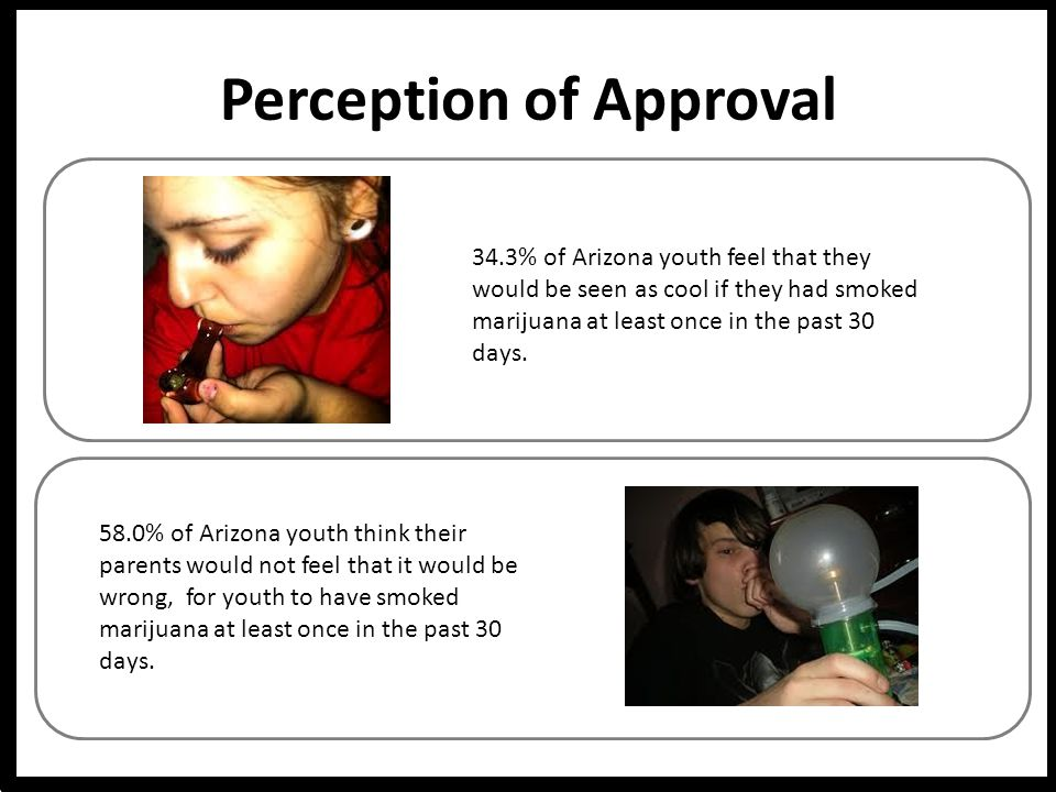 Perception of Approval 58.0% of Arizona youth think their parents would not feel that it would be wrong, for youth to have smoked marijuana at least once in the past 30 days.