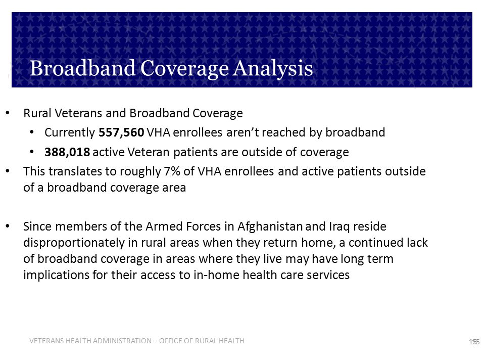 VETERANS HEALTH ADMINISTRATION – OFFICE OF RURAL HEALTH 15 Broadband Coverage Analysis Rural Veterans and Broadband Coverage Currently 557,560 VHA enr
