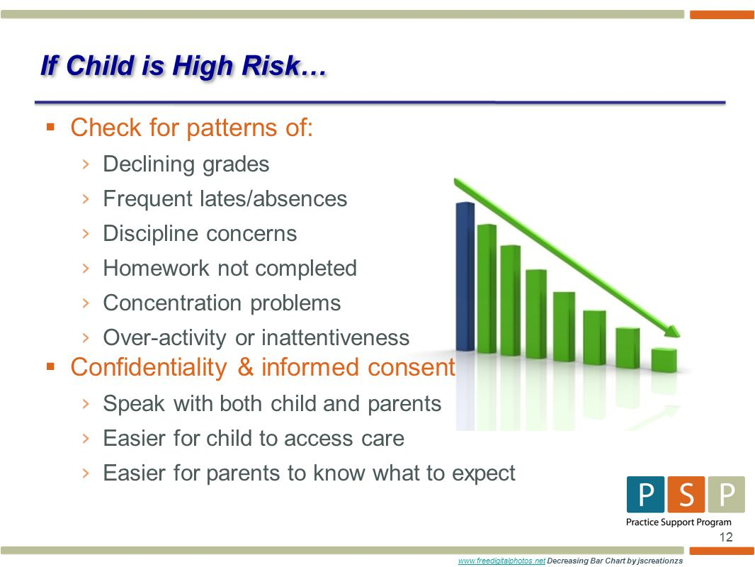 12  Check for patterns of: › Declining grades › Frequent lates/absences › Discipline concerns › Homework not completed › Concentration problems › Over-activity or inattentiveness  Confidentiality & informed consent › Speak with both child and parents › Easier for child to access care › Easier for parents to know what to expect www.freedigitalphotos.netwww.freedigitalphotos.net Decreasing Bar Chart by jscreationzs If Child is High Risk…