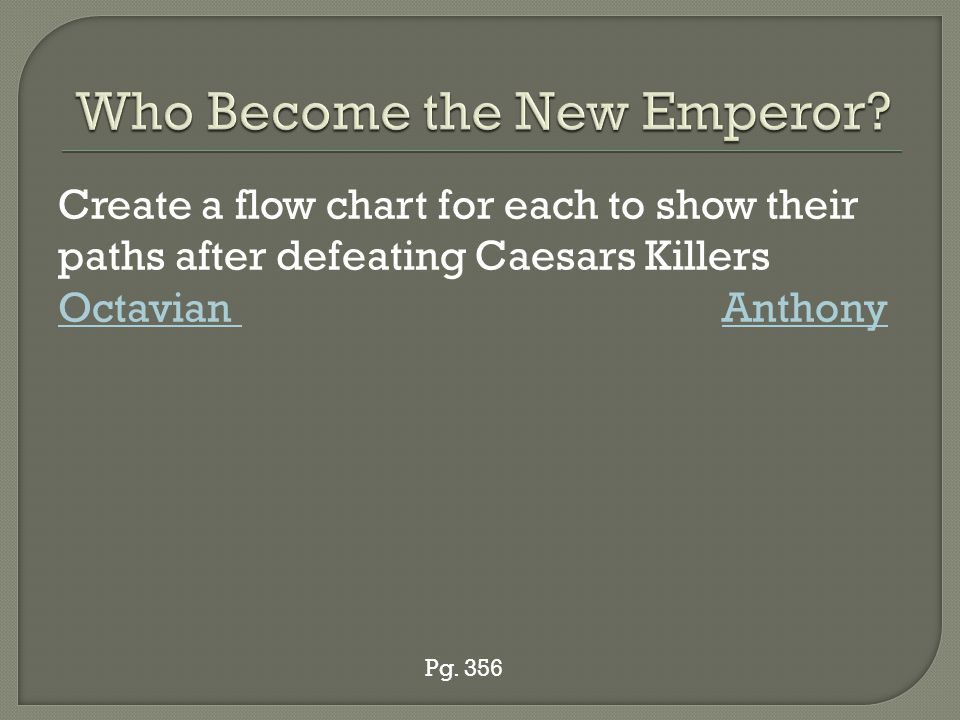 Create a flow chart for each to show their paths after defeating Caesars Killers Octavian Anthony Pg.