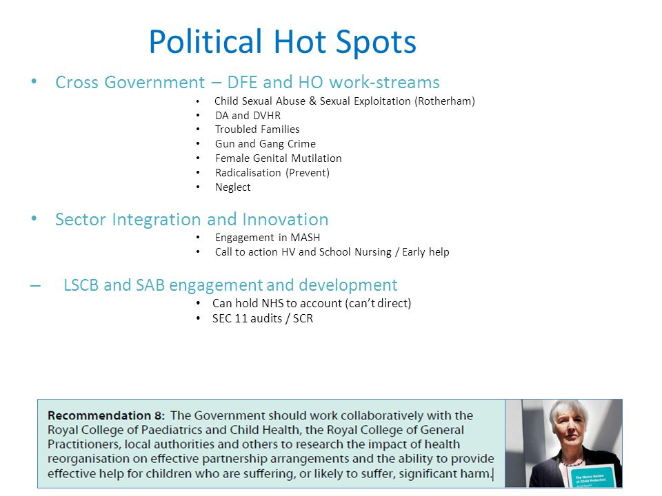 Political Hot Spots Cross Government – DFE and HO work-streams Child Sexual Abuse & Sexual Exploitation (Rotherham) DA and DVHR Troubled Families Gun