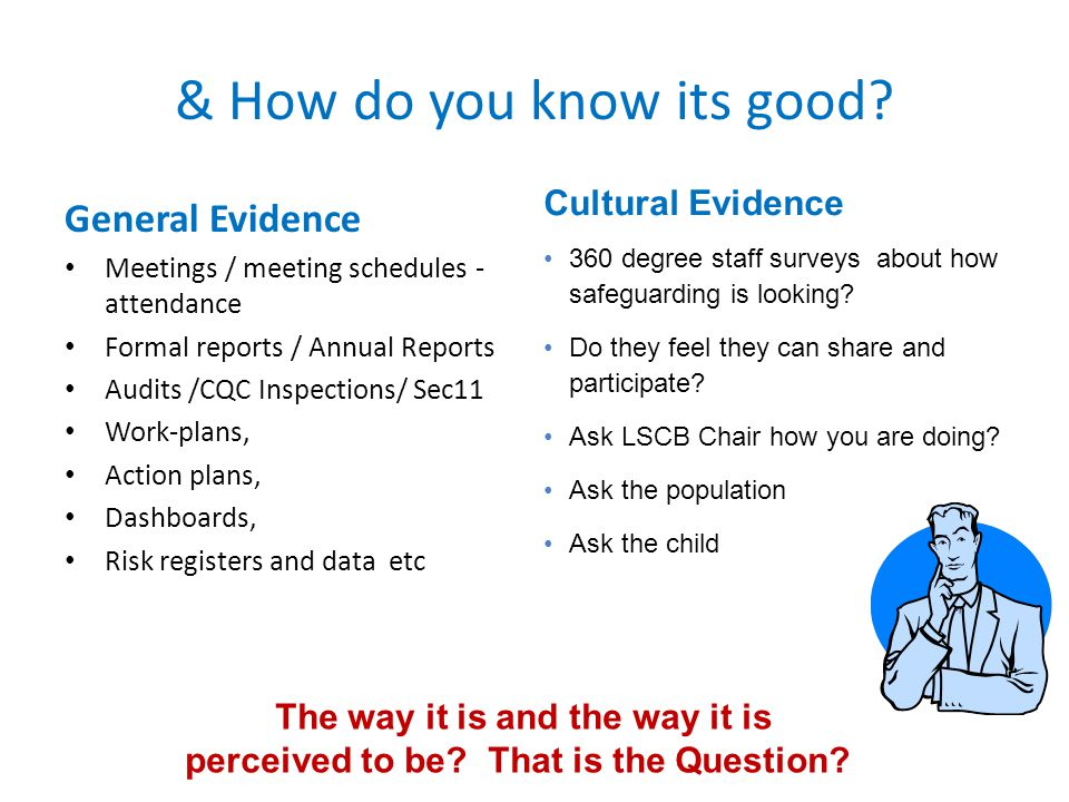 & How do you know its good? General Evidence Meetings / meeting schedules - attendance Formal reports / Annual Reports Audits /CQC Inspections/ Sec11