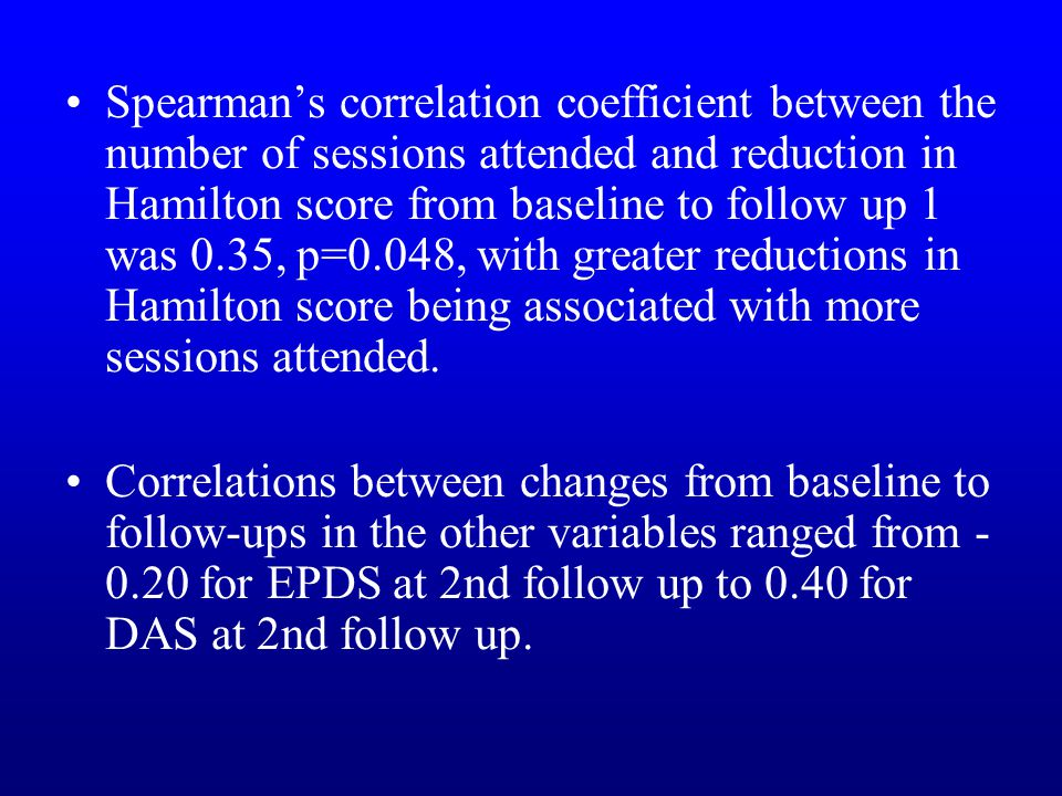 Spearman's correlation coefficient between the number of sessions attended and reduction in Hamilton score from baseline to follow up 1 was 0.35, p=0.048, with greater reductions in Hamilton score being associated with more sessions attended.