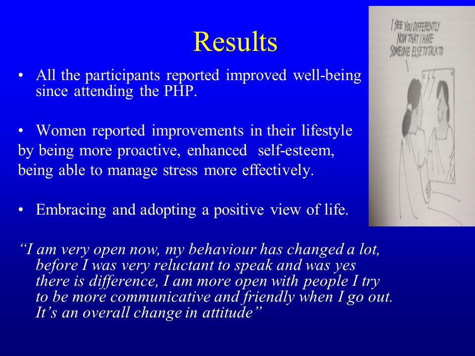 Results All the participants reported improved well-being since attending the PHP.