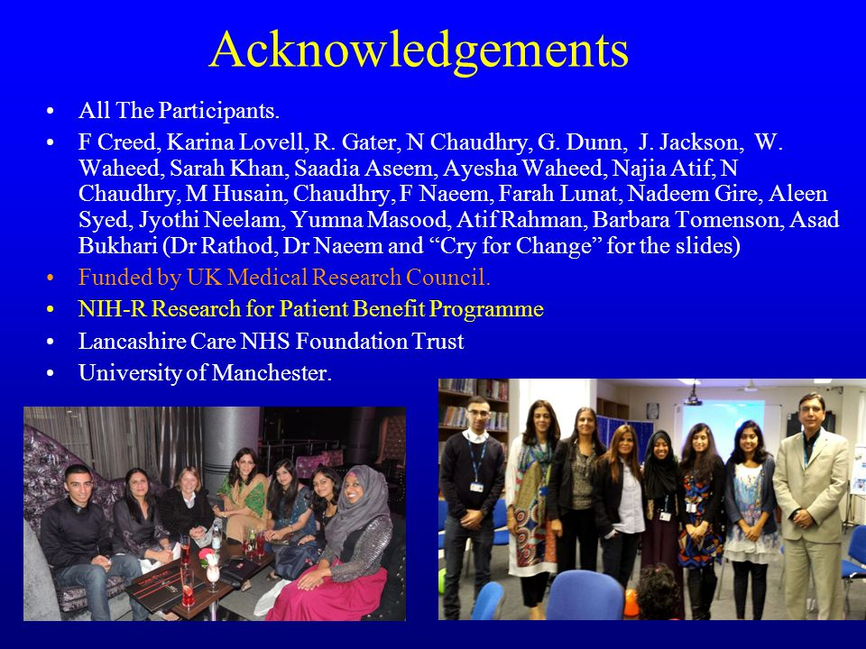 Acknowledgements All The Participants. F Creed, Karina Lovell, R.