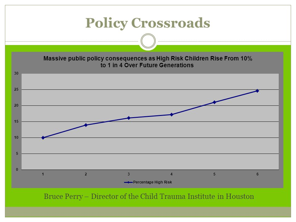 Policy Crossroads Bruce Perry – Director of the Child Trauma Institute in Houston