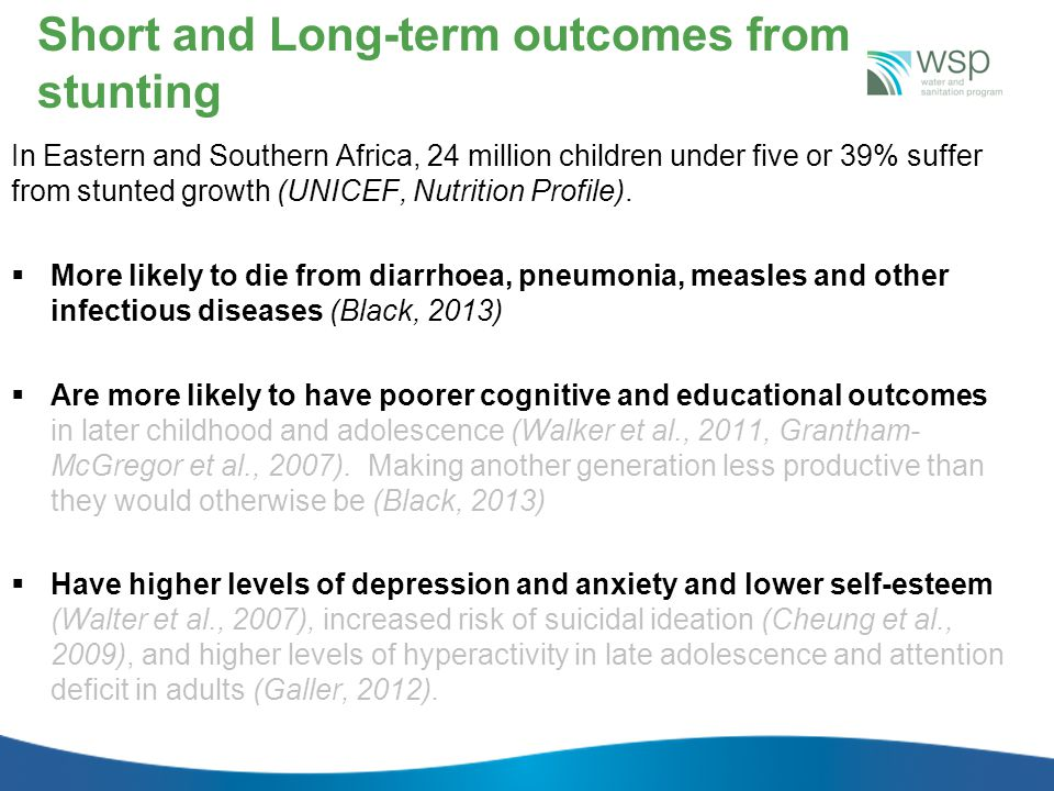 Short and Long-term outcomes from stunting In Eastern and Southern Africa, 24 million children under five or 39% suffer from stunted growth (UNICEF, Nutrition Profile).