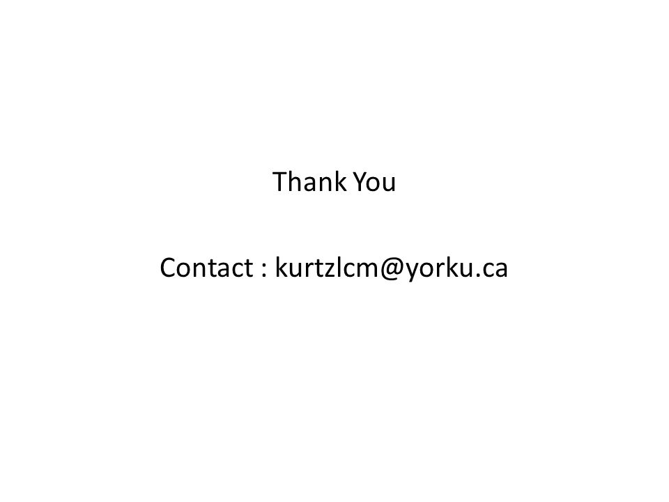 Thank You Contact : kurtzlcm@yorku.ca