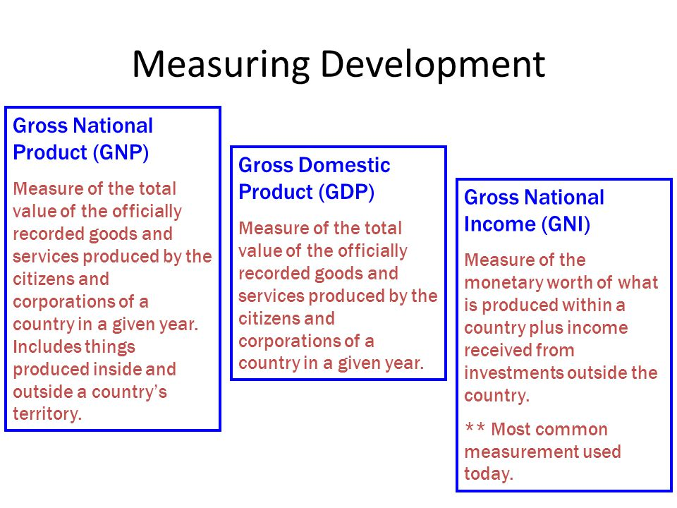 Issues with Measuring Economic Development All measurements count the: – Formal Economy – the legal economy that governments tax and monitor.