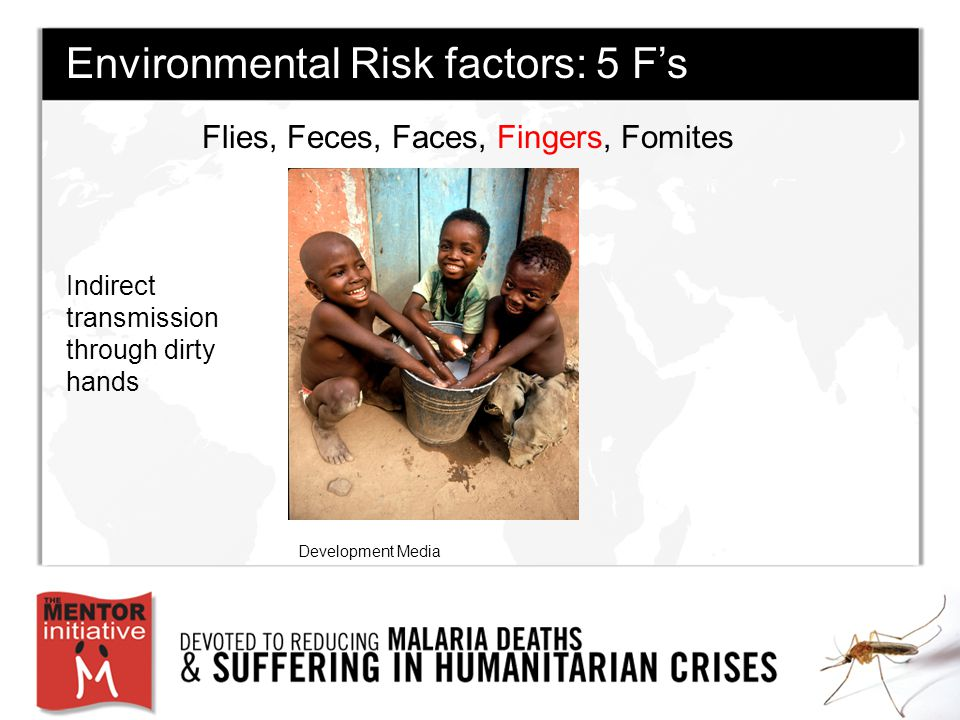 Flies, Feces, Faces, Fingers, Fomites Environmental Risk factors: 5 F's Indirect transmission through dirty hands Development Media