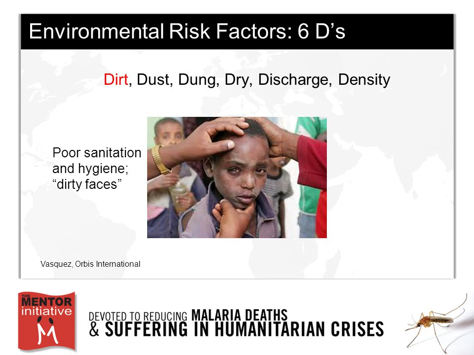 Environmental Risk Factors: 6 D's Dirt, Dust, Dung, Dry, Discharge, Density Vasquez, Orbis International Poor sanitation and hygiene; dirty faces