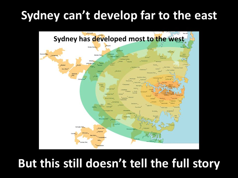 Sydney can't develop far to the east Sydney has developed most to the west But this still doesn't tell the full story