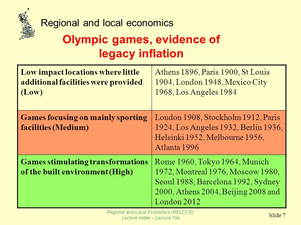 Regional and local economics Slide 8 Distributional effects of Olympic Games controversial n Does public investment represent a subsidy to affluent consumers and visitors at the expense of consumption for the local underprivileged.
