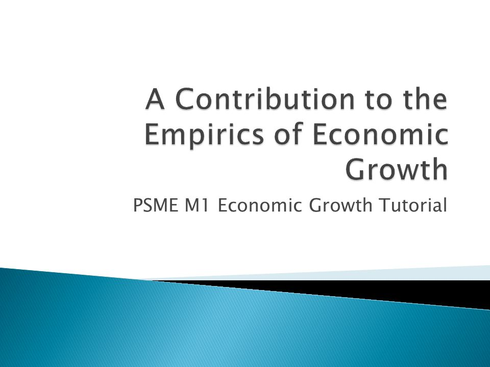 PSME M1 Economic Growth Tutorial