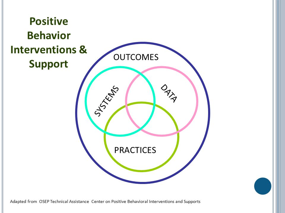 SYSTEMS PRACTICES DATA Positive Behavior Interventions & Support OUTCOMES Adapted from OSEP Technical Assistance Center on Positive Behavioral Interventions and Supports