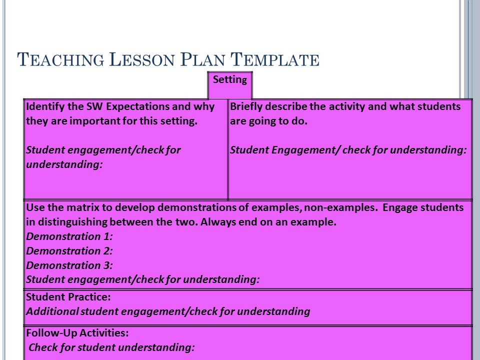 T EACHING L ESSON P LAN T EMPLATE Settin g Identify the SW Expectations and why they are important for this setting. Briefly describe the activity and