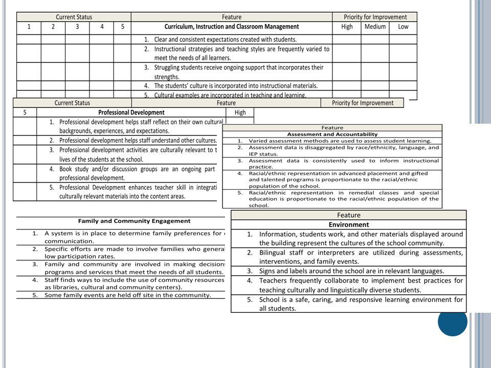 C Current Status Feature Priority for Improvement 5 Professional Development