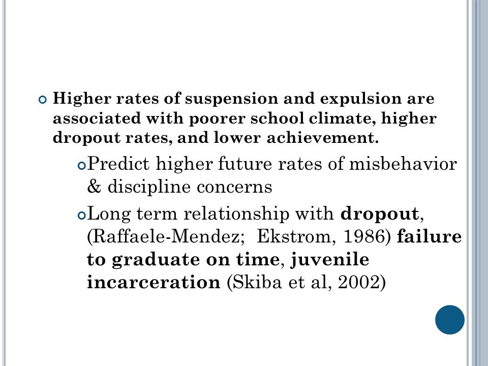 Higher rates of suspension and expulsion are associated with poorer school climate, higher dropout rates, and lower achievement.