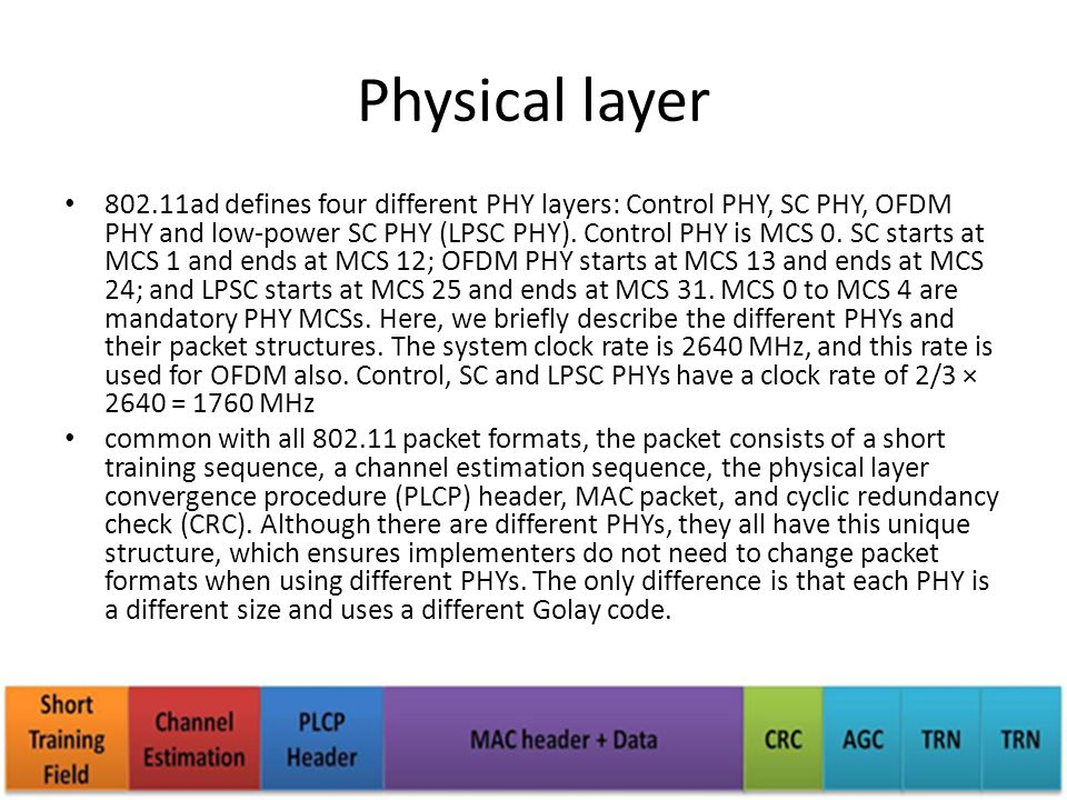 Physical layer 802.11ad defines four different PHY layers: Control PHY, SC PHY, OFDM PHY and low-power SC PHY (LPSC PHY). Control PHY is MCS 0. SC sta