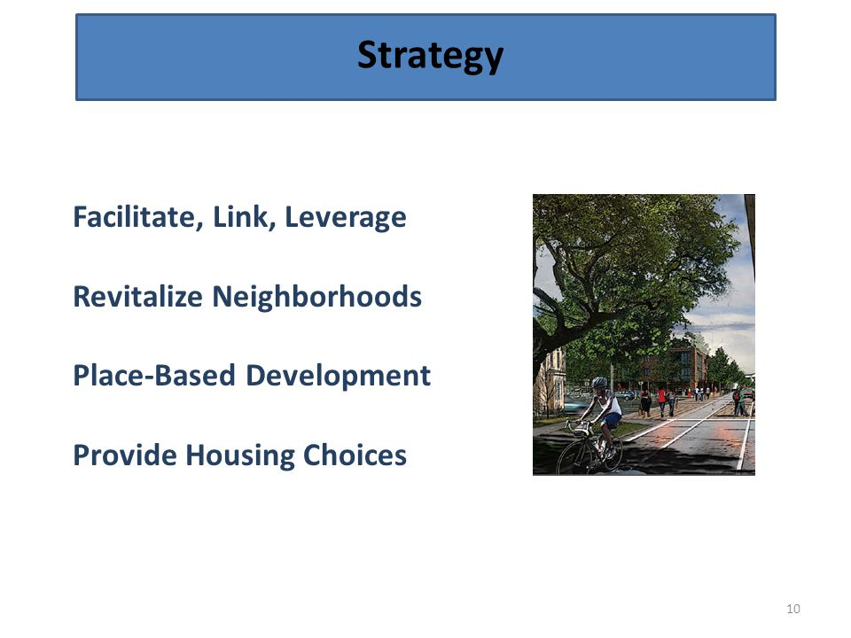 Strategy 10 Facilitate, Link, Leverage Revitalize Neighborhoods Place-Based Development Provide Housing Choices