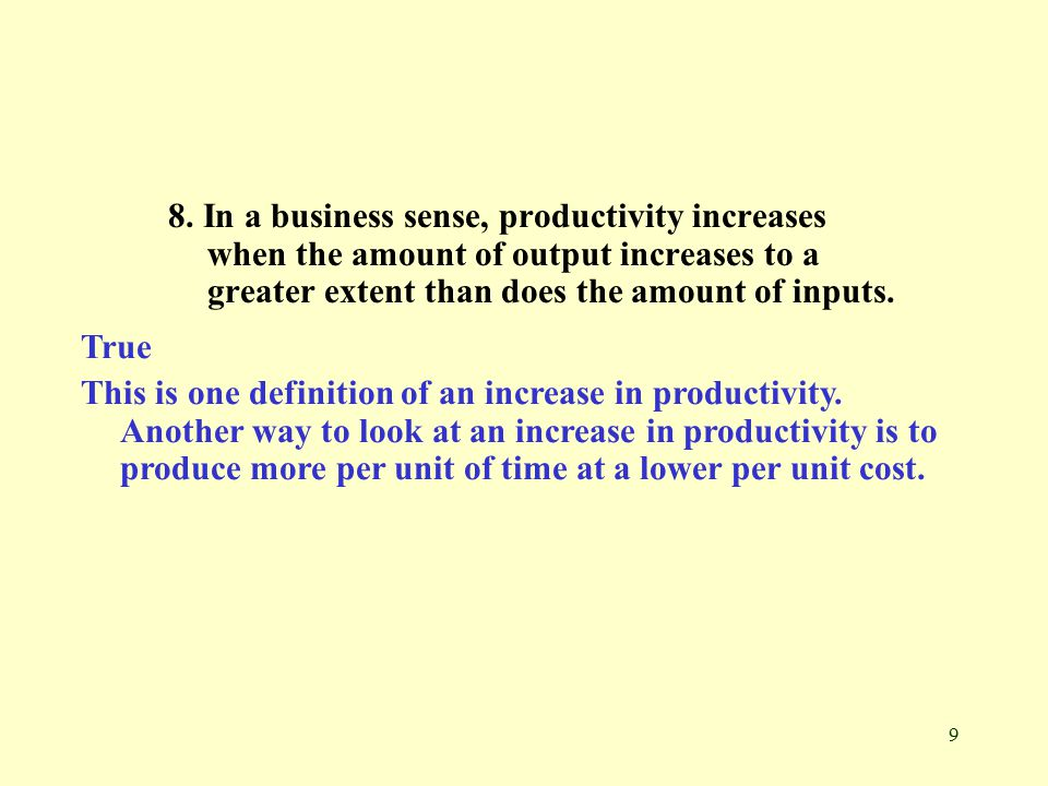 10 9.The assembly line technique of production can increase productivity by a.
