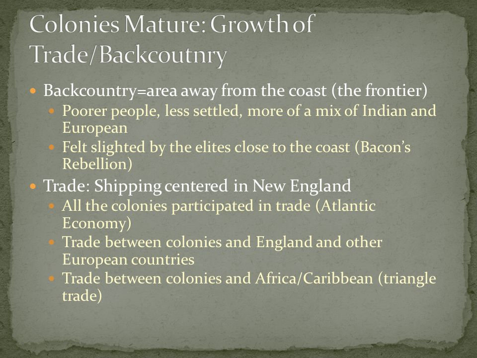 Backcountry=area away from the coast (the frontier) Poorer people, less settled, more of a mix of Indian and European Felt slighted by the elites clos