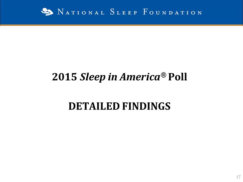 17 2015 Sleep in America ® Poll DETAILED FINDINGS