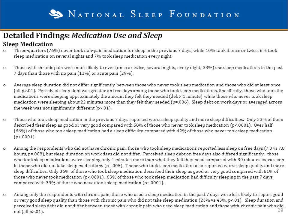 Detailed Findings: Medication Use and Sleep Sleep Medication o Three-quarters (76%) never took non-pain medication for sleep in the previous 7 days, w