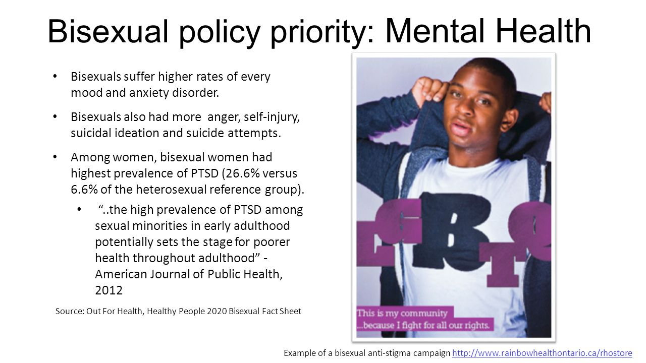 Bisexual policy priority: Mental Health Bisexuals suffer higher rates of every mood and anxiety disorder. Bisexuals also had more anger, self-injury,
