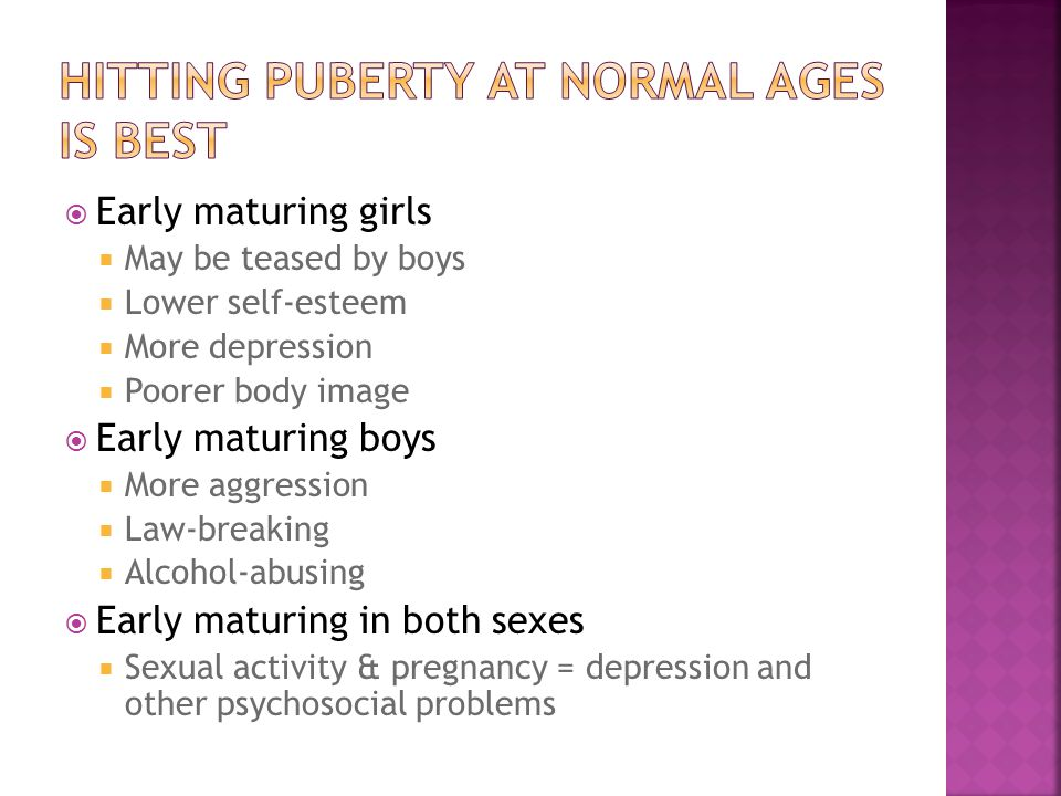  Early maturing girls  May be teased by boys  Lower self-esteem  More depression  Poorer body image  Early maturing boys  More aggression  Law