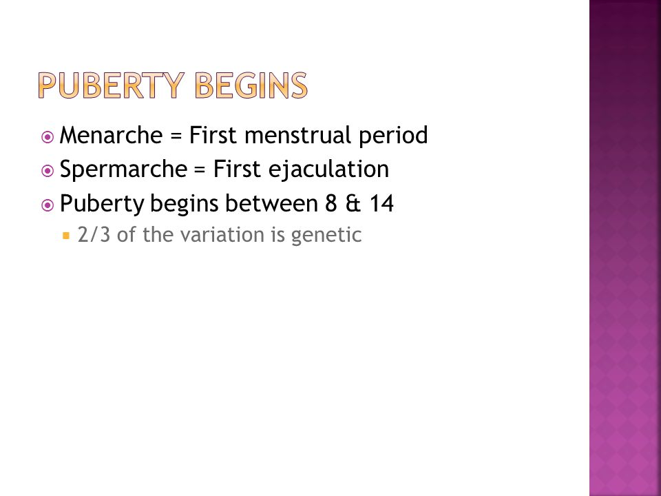  Menarche = First menstrual period  Spermarche = First ejaculation  Puberty begins between 8 & 14  2/3 of the variation is genetic