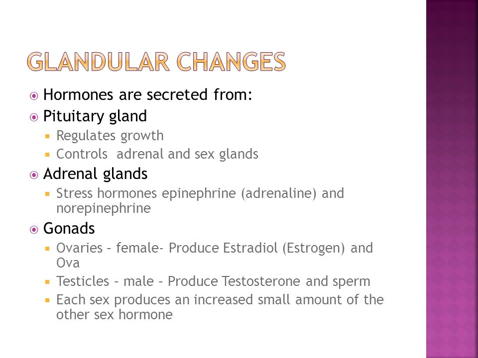  Hormones are secreted from:  Pituitary gland  Regulates growth  Controls adrenal and sex glands  Adrenal glands  Stress hormones epinephrine (a