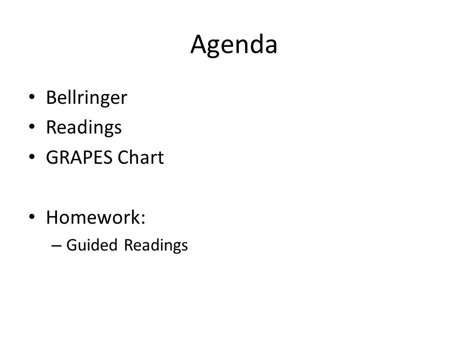 Agenda Bellringer Readings GRAPES Chart Homework: – Guided Readings