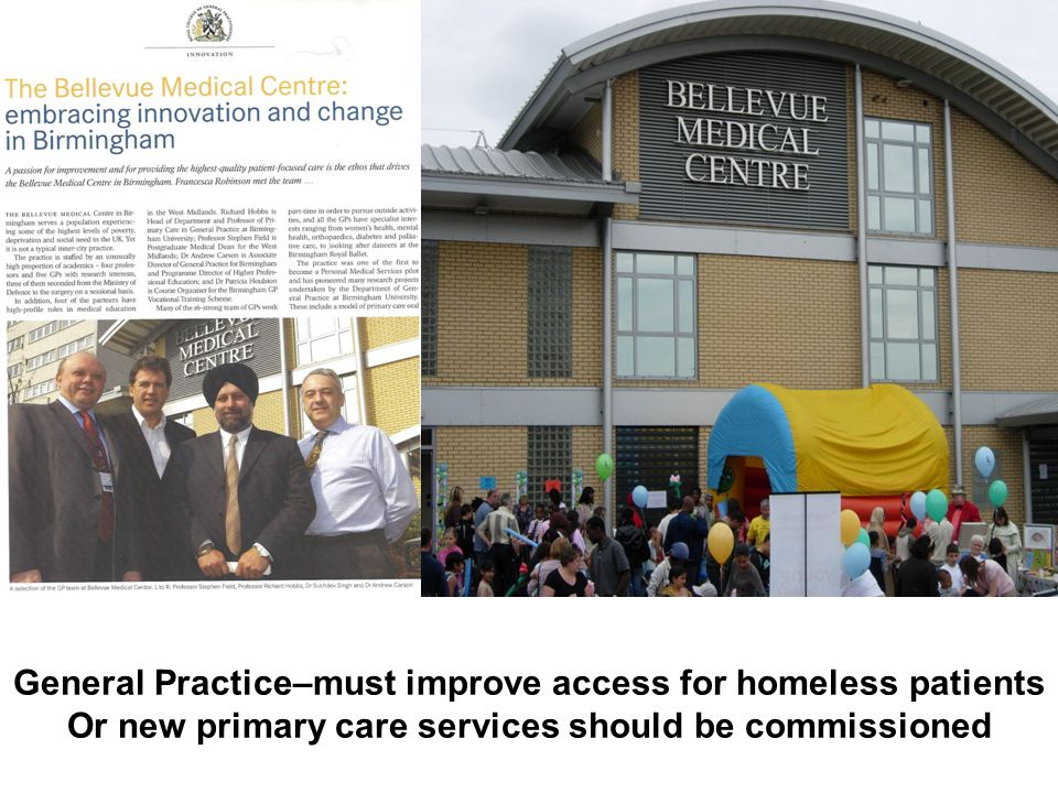 General Practice–must improve access for homeless patients Or new primary care services should be commissioned