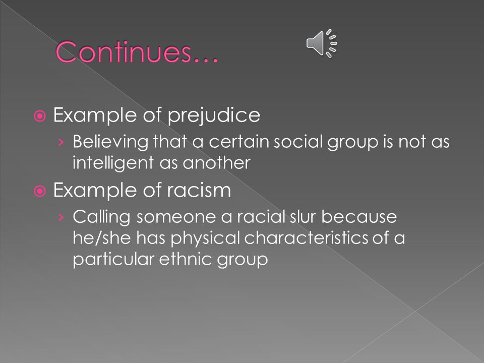  Experienced by many acculturating individuals  Displayed by dominant and non- dominant group  Example of Discrimination: › Not employing a certain individual because he/she is a member of a particular social group