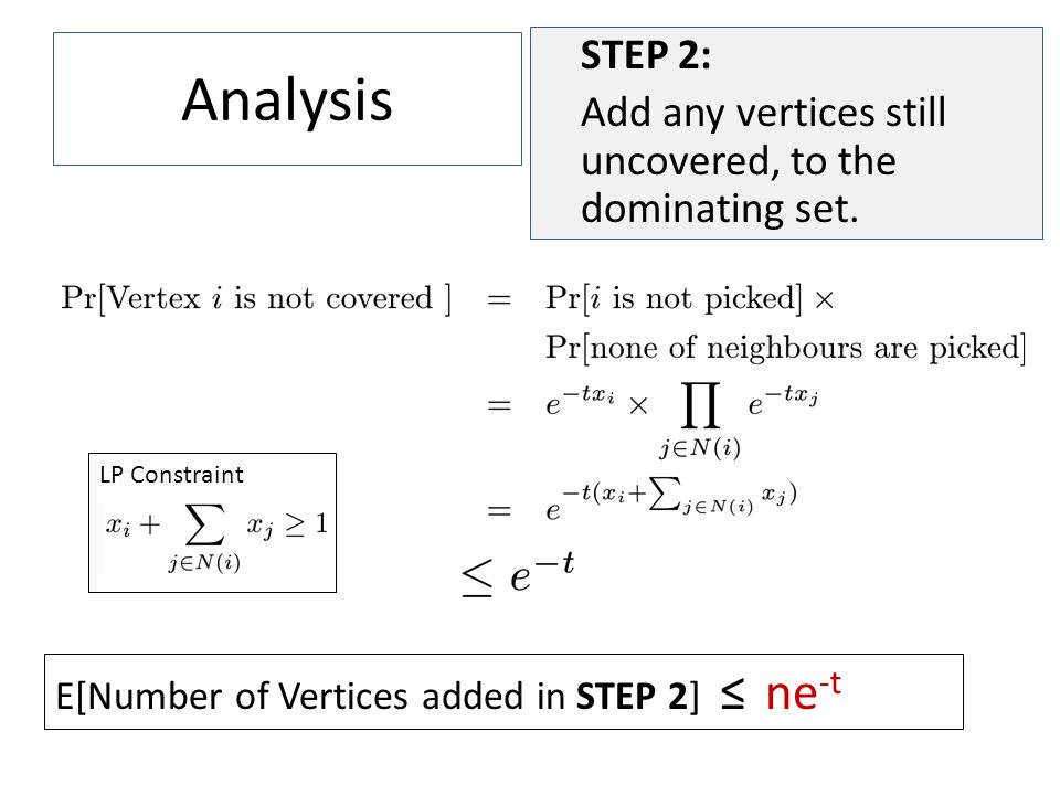 LP Constraint Analysis STEP 2: Add any vertices still uncovered, to the dominating set.