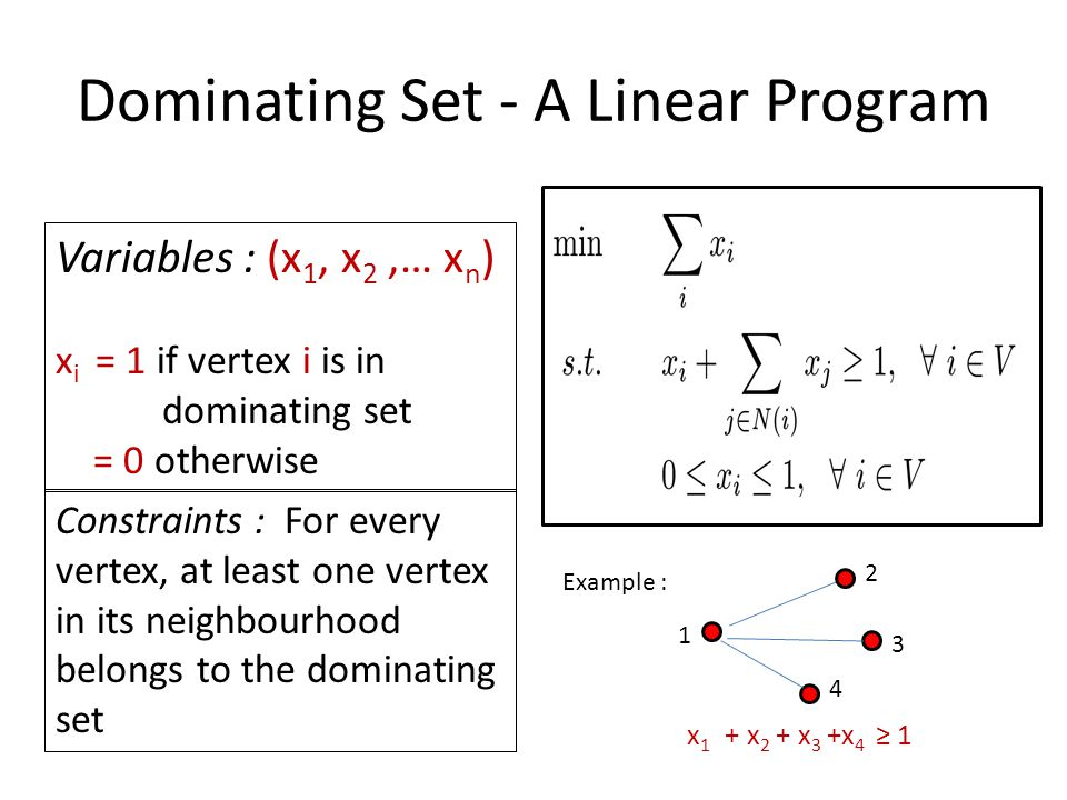 Rounding Scheme Add vertex i in to the dominating set independently with probability : Add any vertices still uncovered, to the dominating set.