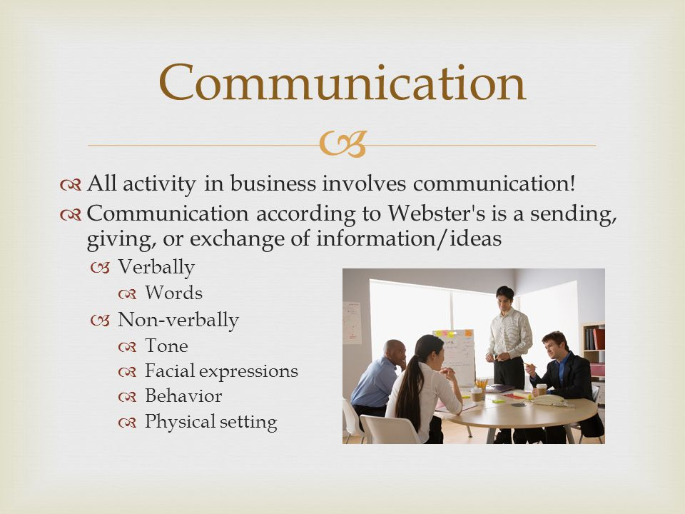   All activity in business involves communication.