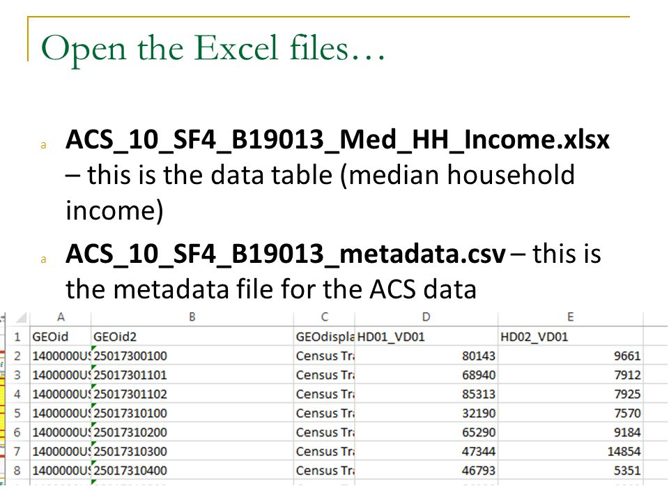 Open the Excel files… aACS_10_SF4_B19013_Med_HH_Income.xlsx – this is the data table (median household income) aACS_10_SF4_B19013_metadata.csv – this is the metadata file for the ACS data