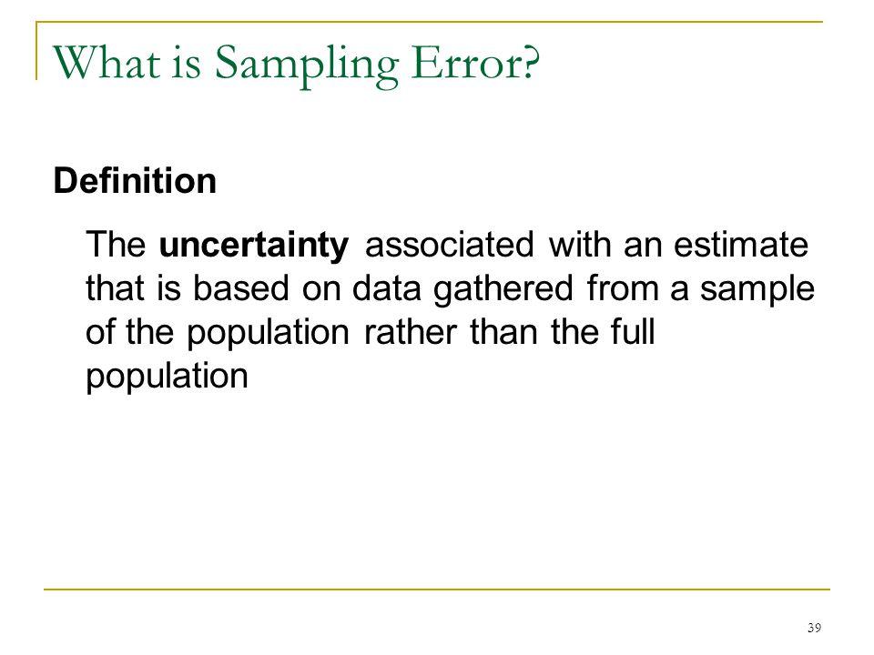What is Sampling Error.