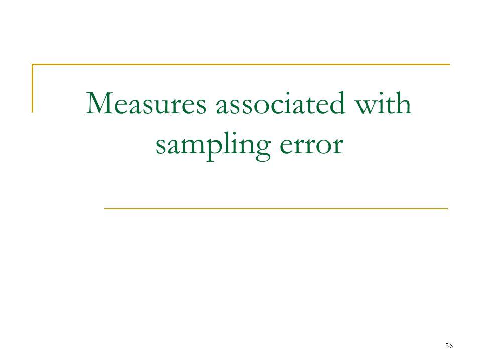 Measures associated with sampling error 56