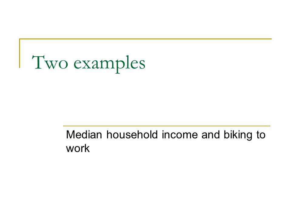 Two examples Median household income and biking to work