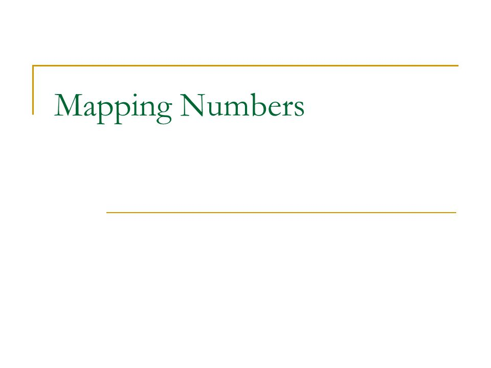 Mapping Numbers