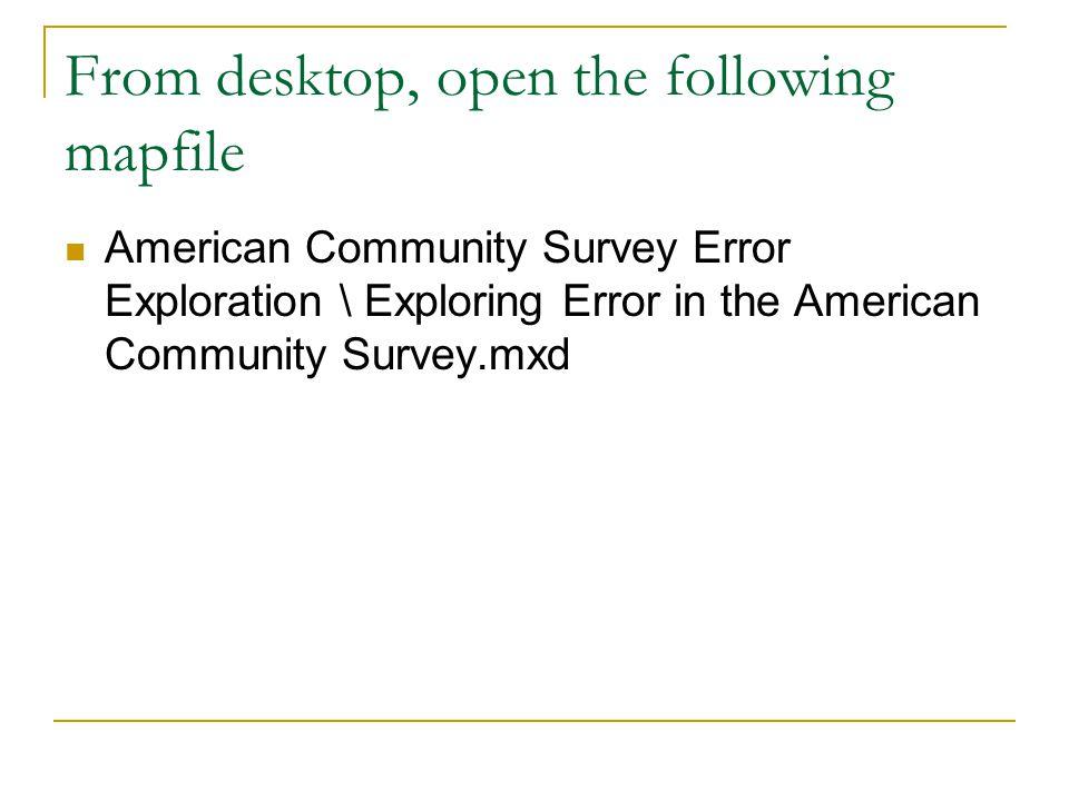 From desktop, open the following mapfile American Community Survey Error Exploration \ Exploring Error in the American Community Survey.mxd