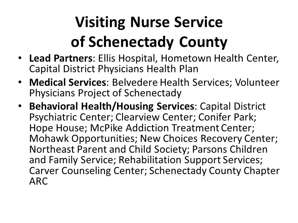 Visiting Nurse Service of Schenectady County Lead Partners: Ellis Hospital, Hometown Health Center, Capital District Physicians Health Plan Medical Services: Belvedere Health Services; Volunteer Physicians Project of Schenectady Behavioral Health/Housing Services: Capital District Psychiatric Center; Clearview Center; Conifer Park; Hope House; McPike Addiction Treatment Center; Mohawk Opportunities; New Choices Recovery Center; Northeast Parent and Child Society; Parsons Children and Family Service; Rehabilitation Support Services; Carver Counseling Center; Schenectady County Chapter ARC