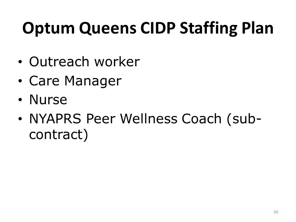 Optum Queens CIDP Staffing Plan Outreach worker Care Manager Nurse NYAPRS Peer Wellness Coach (sub- contract) 46