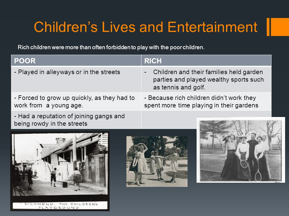 Children's Lives and Entertainment POORRICH - Played in alleyways or in the streets-Children and their families held garden parties and played wealthy sports such as tennis and golf.