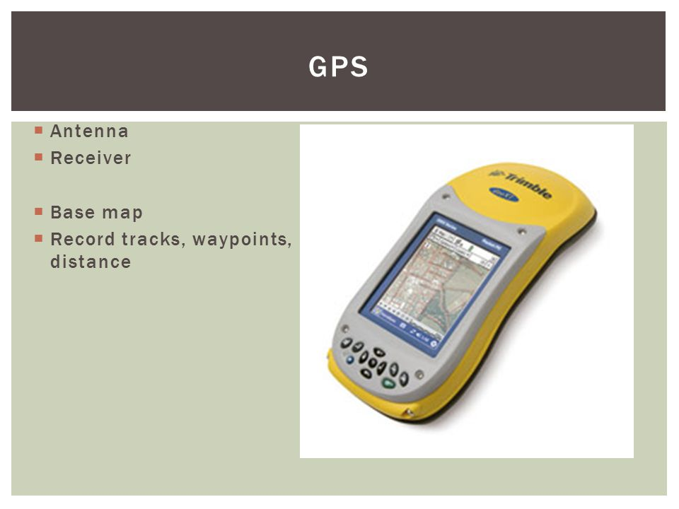  Antenna  Receiver  Base map  Record tracks, waypoints, distance GPS