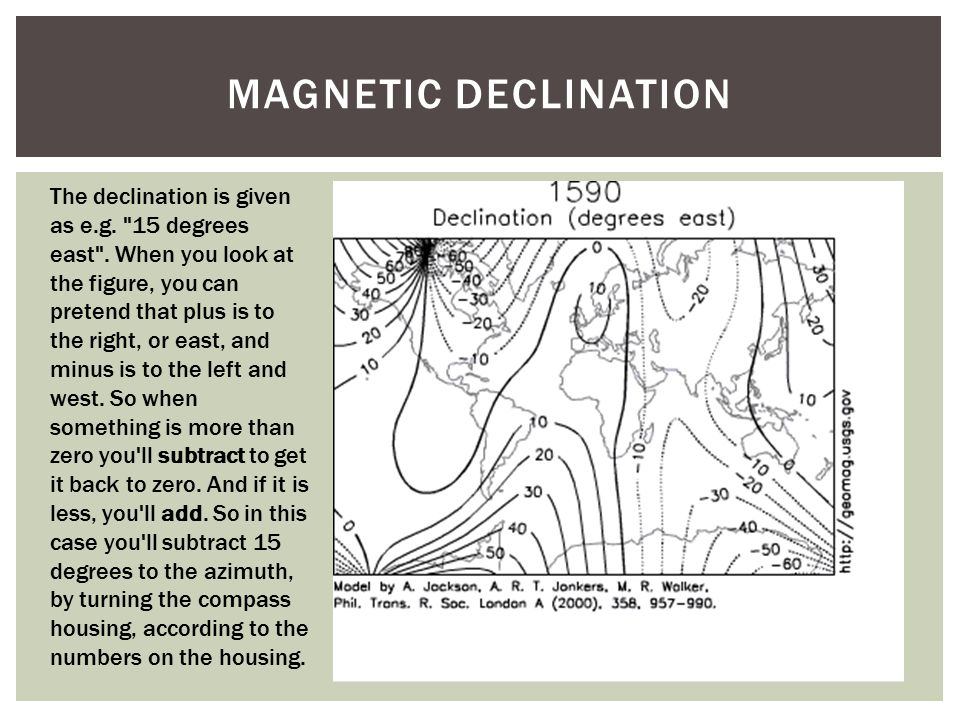 ADDITIONAL CONSIDERATIONS Compasses work underground unlike GPS Local magnetic sources can cause errors Can take a 'backsight' on where you came from to confirm that it is 180 degrees off the traveled azimuth.