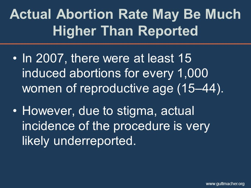 www.guttmacher.org In 2007, there were at least 15 induced abortions for every 1,000 women of reproductive age (15–44). However, due to stigma, actual